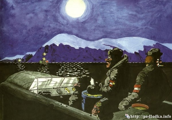 Ночной переход подлодки