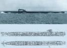 Подводная лодка проекта 645 в море. Схема